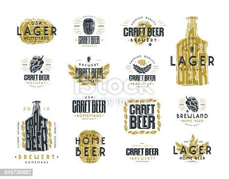 Set of craft beer label