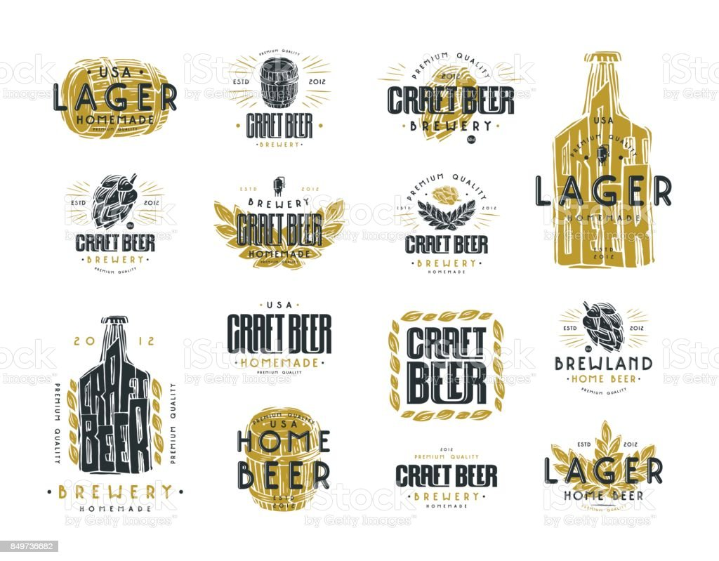 Set of craft beer label vector art illustration