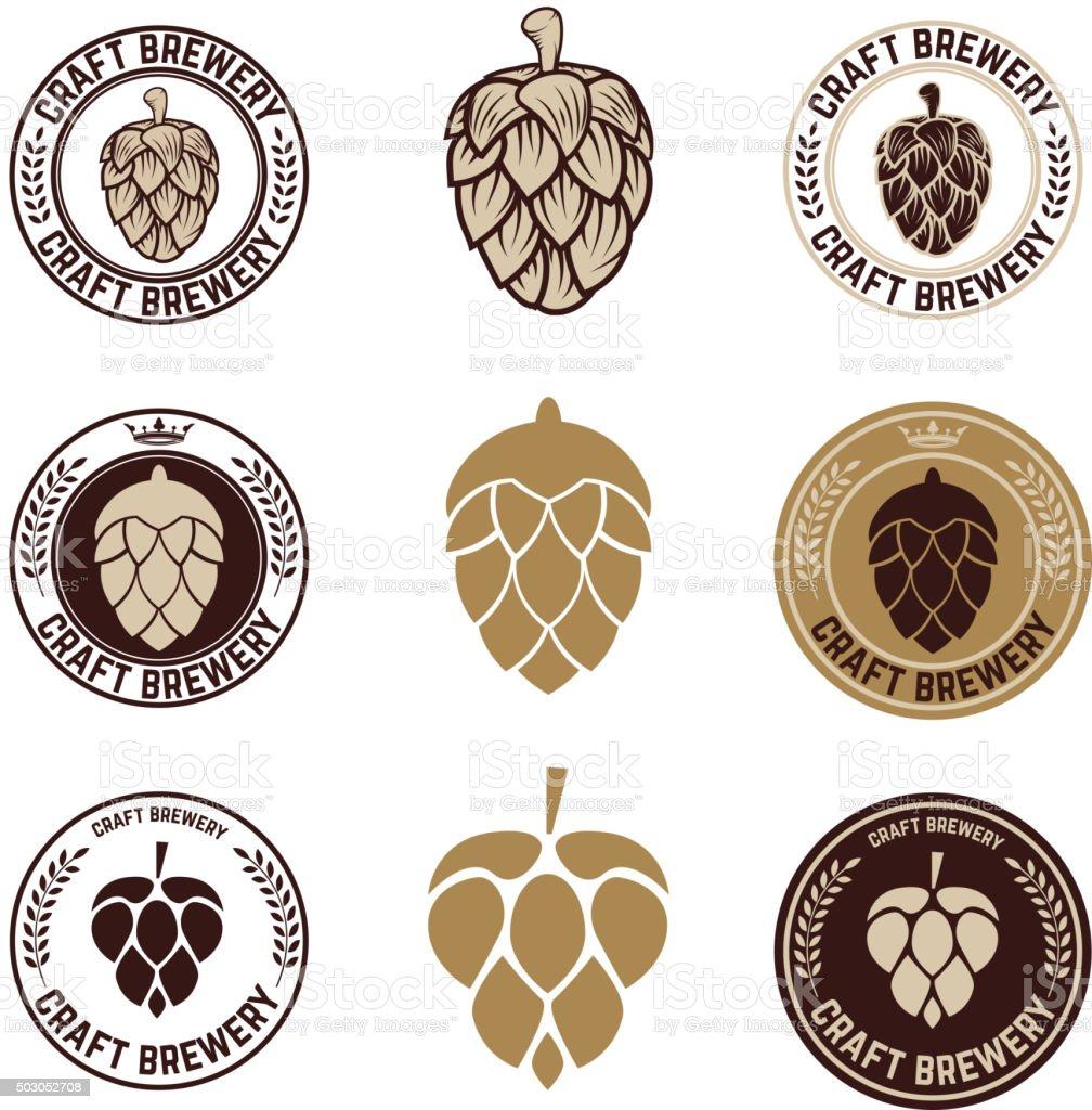 Set of craft beer labels vector art illustration