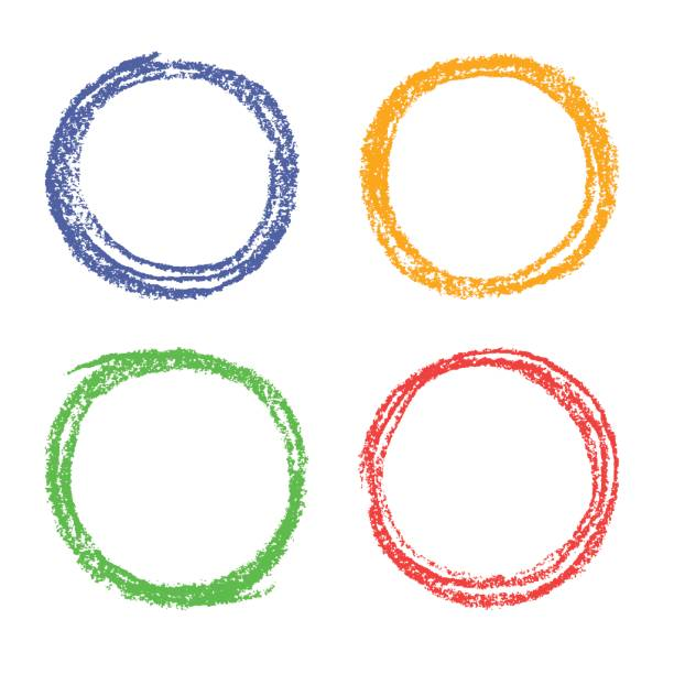 Crayon Colored Circle : Royalty free pencil and crayon icon on color circle