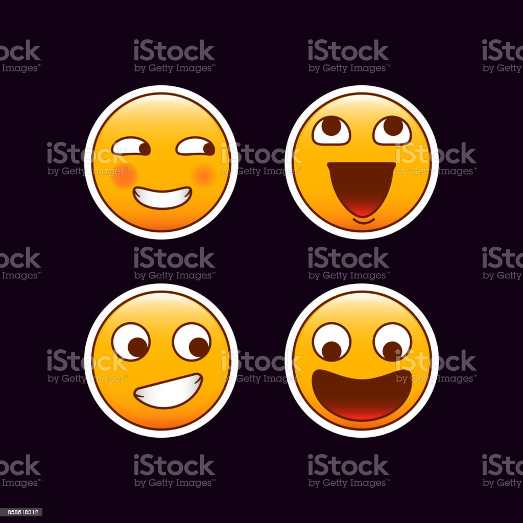 Set of crazy emoticon stickers. Crazy smiles and laughing emojis vector art illustration
