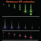 A set of create Christmas animations. Moving color flashes on a black background