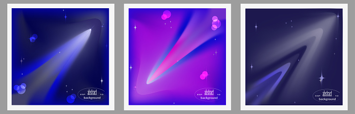 Set of creative abstract outer space background.Glowing space object, galaxy, planet, comet, meteorite. Vector illustration for cover design, banner, wall decoration.