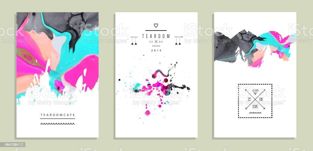 Set of creative artistic invitations with handmade textures vector art illustration