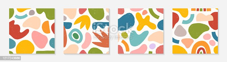 Set of creative artistic seamless patterns.Colorful hand drawn organic shapes,lines,doodles and elements.Vector trendy design perfect for prints,flyers,banners,fabric ,invitations,branding,covers and more.