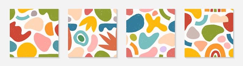Set of creative artistic seamless patterns