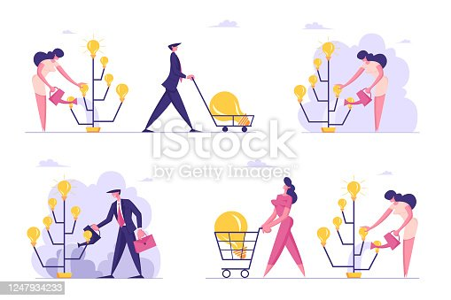 istock Set of Creative Business Characters Watering Idea Tree with Glowing Light Bulbs and Collect Crop. Startup Project Bring Financial Money Success, Brainstorm Insight. Cartoon People Vector Illustration 1247934233