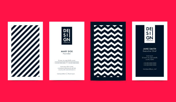 set of creative b&w business card layouts with geometric elements. vector graphic. - stationery templates stock illustrations