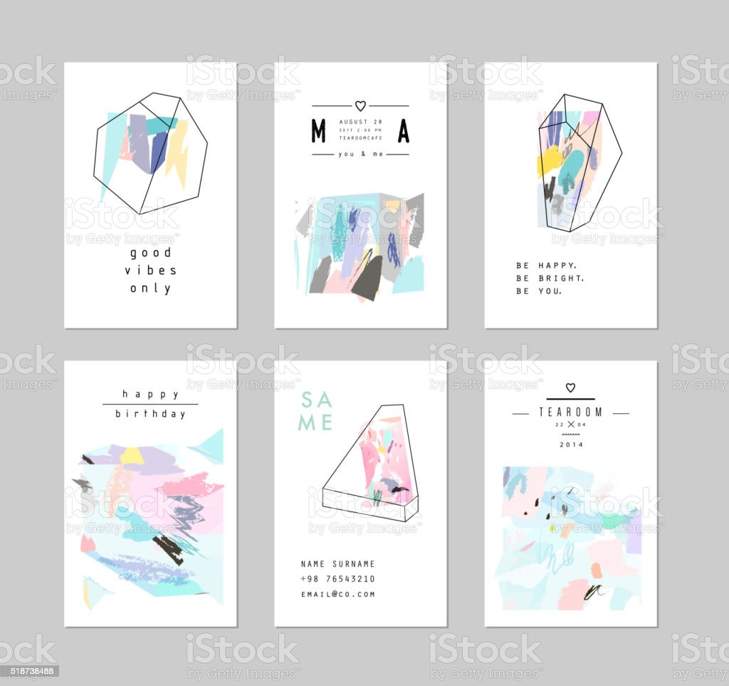 Set of creative cards and posters with geometric outline shapes vector art illustration