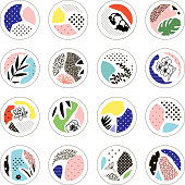 Set of creative circles with floral elements