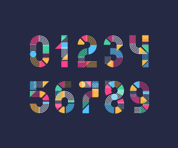 Set of creative color geometry shapes' figures and numbers. Vector numerals. Set of creative color geometry shapes' figures and numbers. number stock illustrations