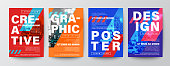 Set of Creative Graphic Design layout. Typography on diagonal grid with red and blue background for Poster, Brochure, Flyer, leaflet, Annual report, Book cover, banner. Template in A4 size.