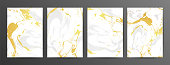 Set of creative gray and gold marble cards. Vector hand Drawn textures made with liquid ink. Golden elements. Fluid art. Applicable for design cover, posters, presentation, invitation.