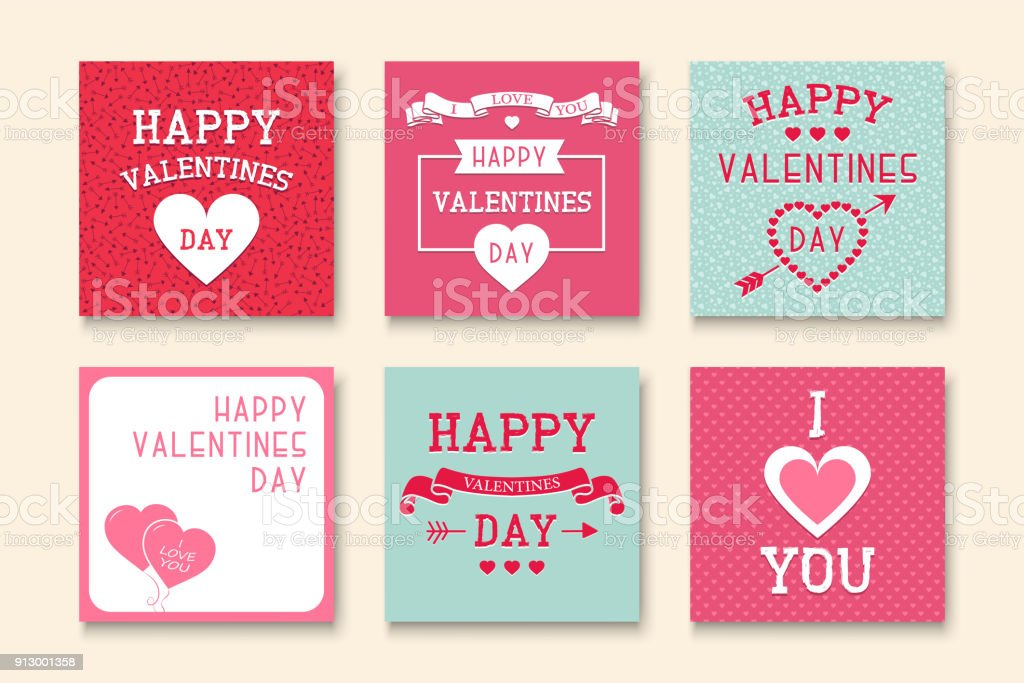 Set Of Creative Greeting Cards Happy Valentines Day Backgrounds