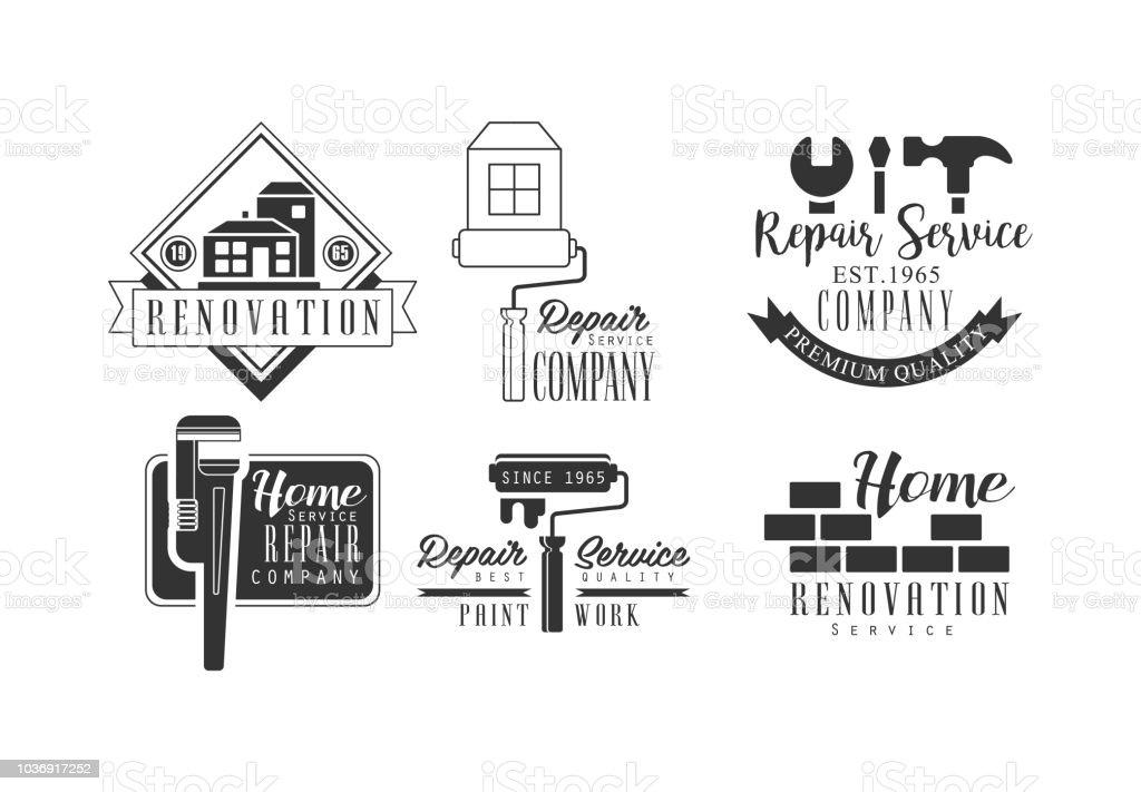 Ensemble Dicones Creative Services De Reparation Emblemes De Vecteur