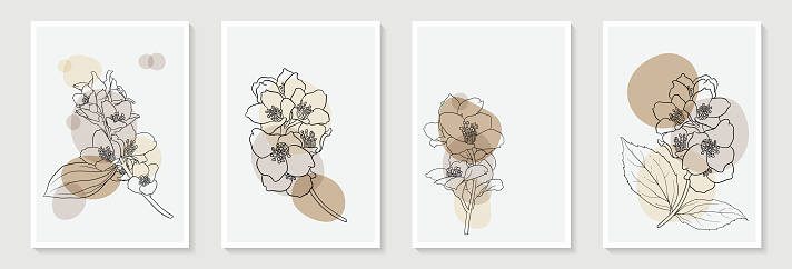 Set of creative minimalist hand draw illustrations floral outline and pastel simple shape for home wall decoration, postcard or brochure cover design