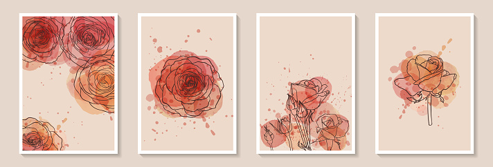 Set of creative minimalist hand draw illustrations floral outline with pink watercolor stain and splash. Design for wall decoration, postcard or brochure cover design