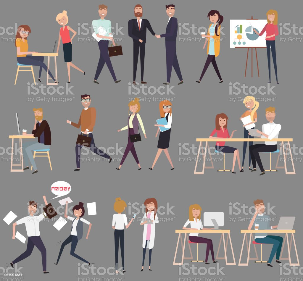 Set of Creative people flat compositions working together in co working office - Royalty-free Adult stock vector