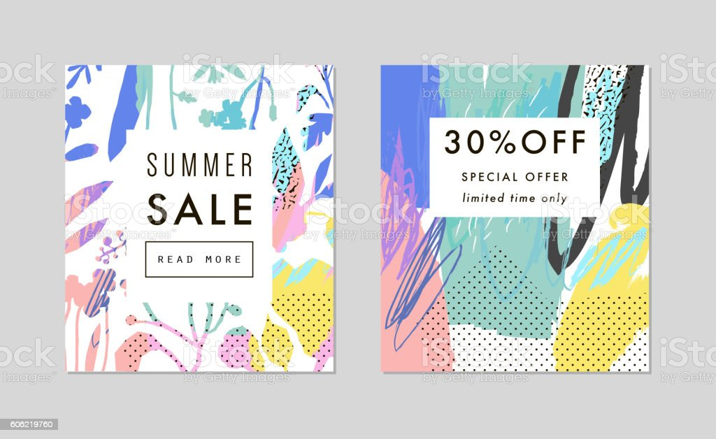 Set of creative Social Media Sale headers or banners vector art illustration