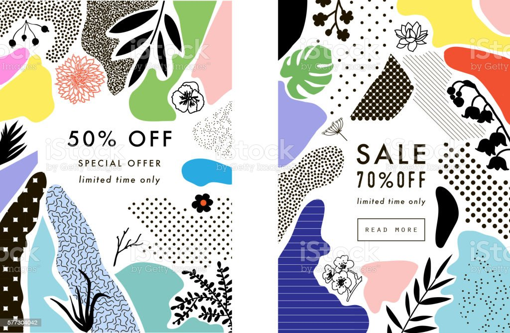 Set of creative Social Media Sale headers with discount offer ベクターアートイラスト