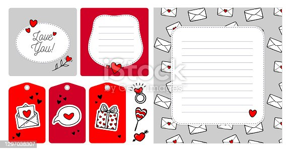 Set of creative template Valentine's day cards and tags in doodle style
