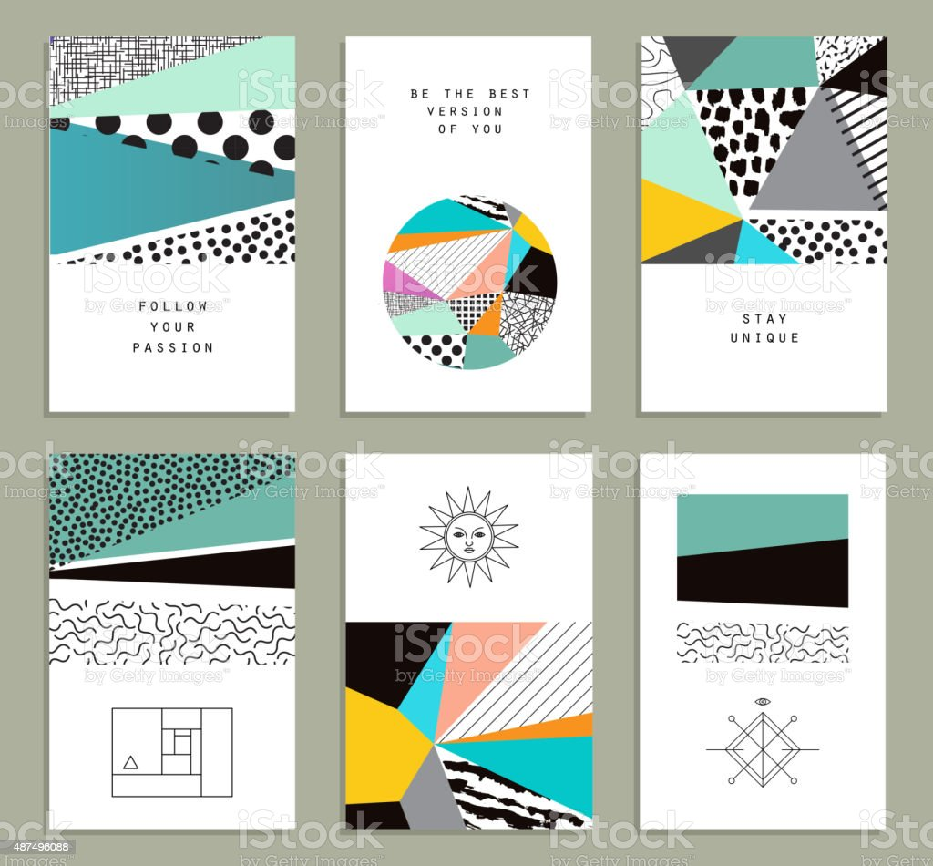 Set of  creative universal cards. Hand Drawn textures. vector art illustration