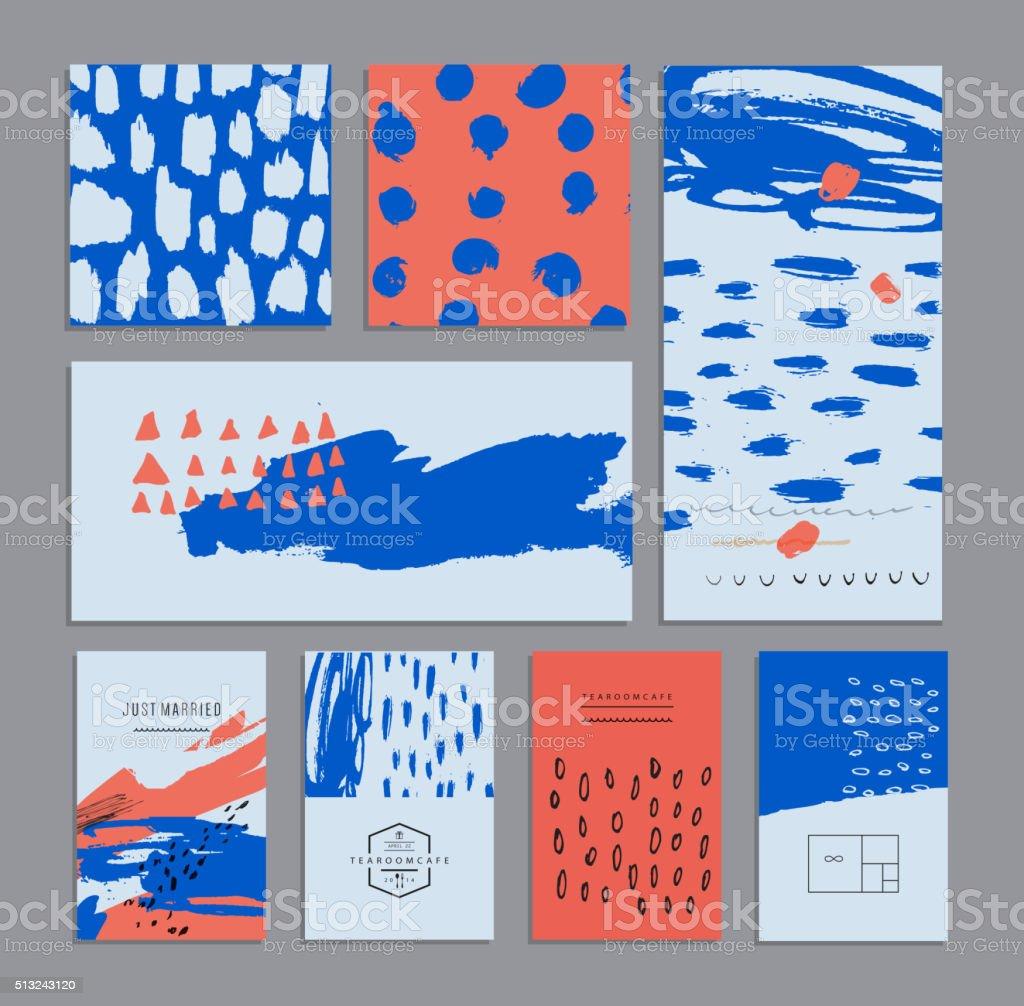 Set of creative universal cards. Hand Drawn textures. vector art illustration