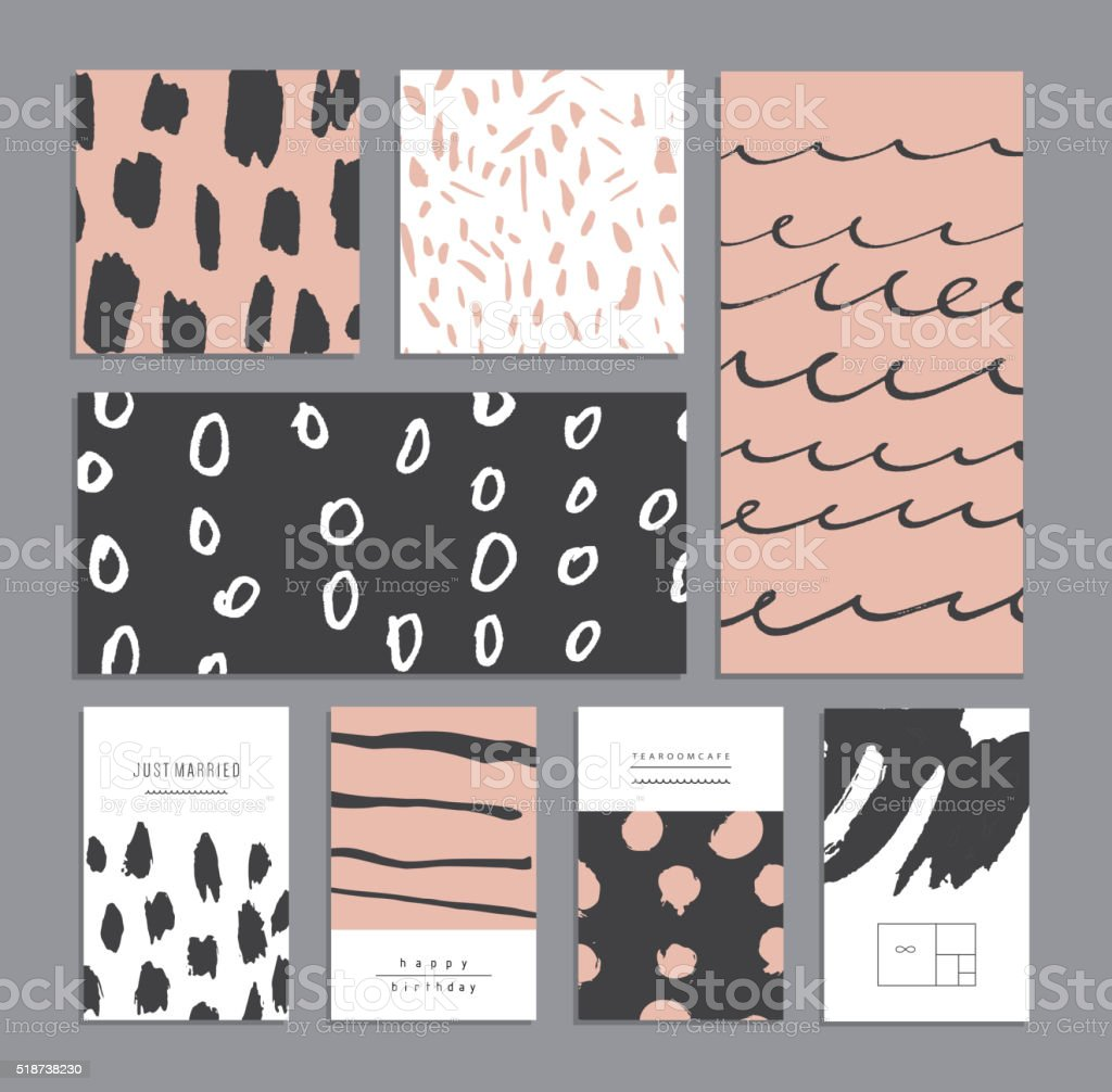 Set of creative universal cards. Hand Drawn textures vector art illustration