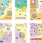 Set of creative universal cards.. Trendy geometric elements. Wedding