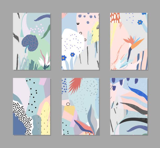 Set of creative universal floral cards in tropical style. Hand Drawn textures. Wedding, anniversary, birthday, Valentin's day, party invitations. natural pattern stock illustrations