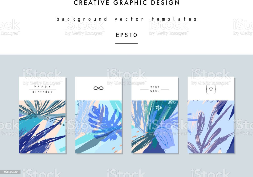 Set of creative universal floral cards in tropical style. ベクターアートイラスト