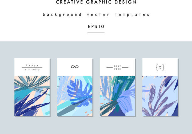 Set of creative universal floral cards in tropical style. - Illustration vectorielle