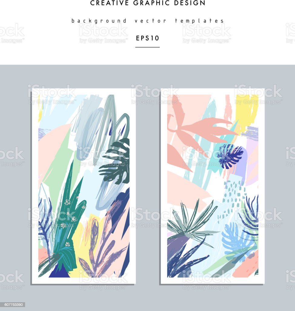 Set of creative universal floral cards in tropical style. vector art illustration