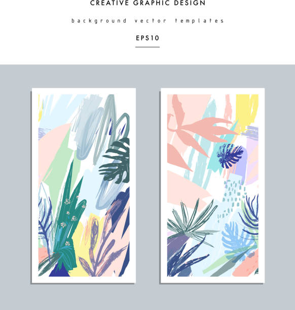set of creative universal floral cards in tropical style. - 春のファッション点のイラスト素材/クリップアート素材/マンガ素材/アイコン素材