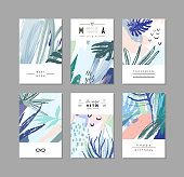 Set of creative universal floral cards in tropical style.