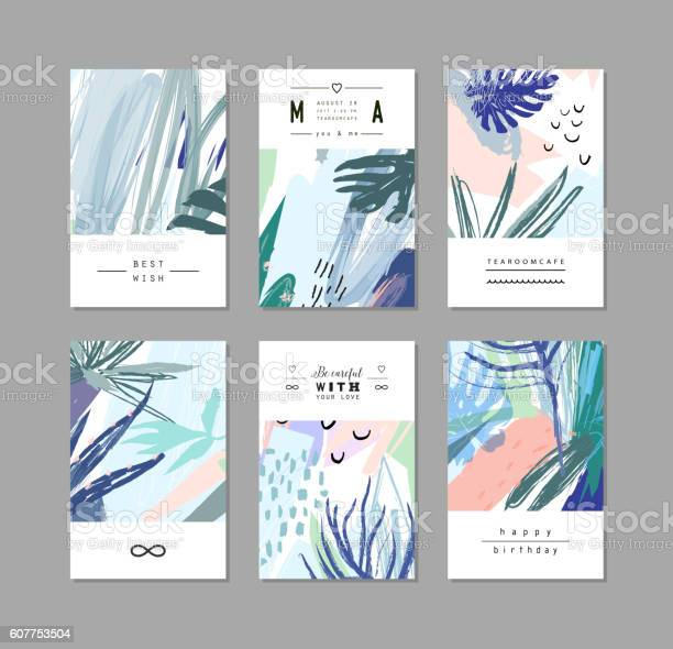 Set of creative universal floral cards in tropical style vector id607753504?b=1&k=6&m=607753504&s=612x612&h=vaqiushe7pg 4h3vd4d c6szds9t l2z jinofqldco=