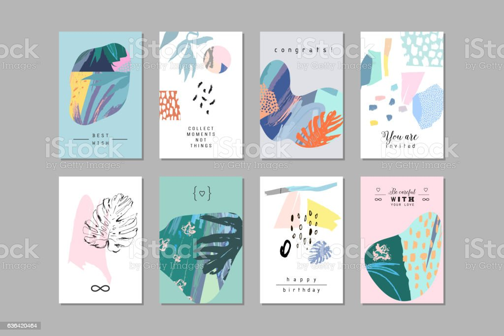 Set of creative universal floral cards in tropical style. - ilustración de arte vectorial