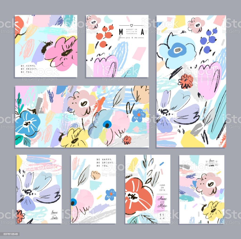 Set of creative universal floral cards, posters, headers. vector art illustration