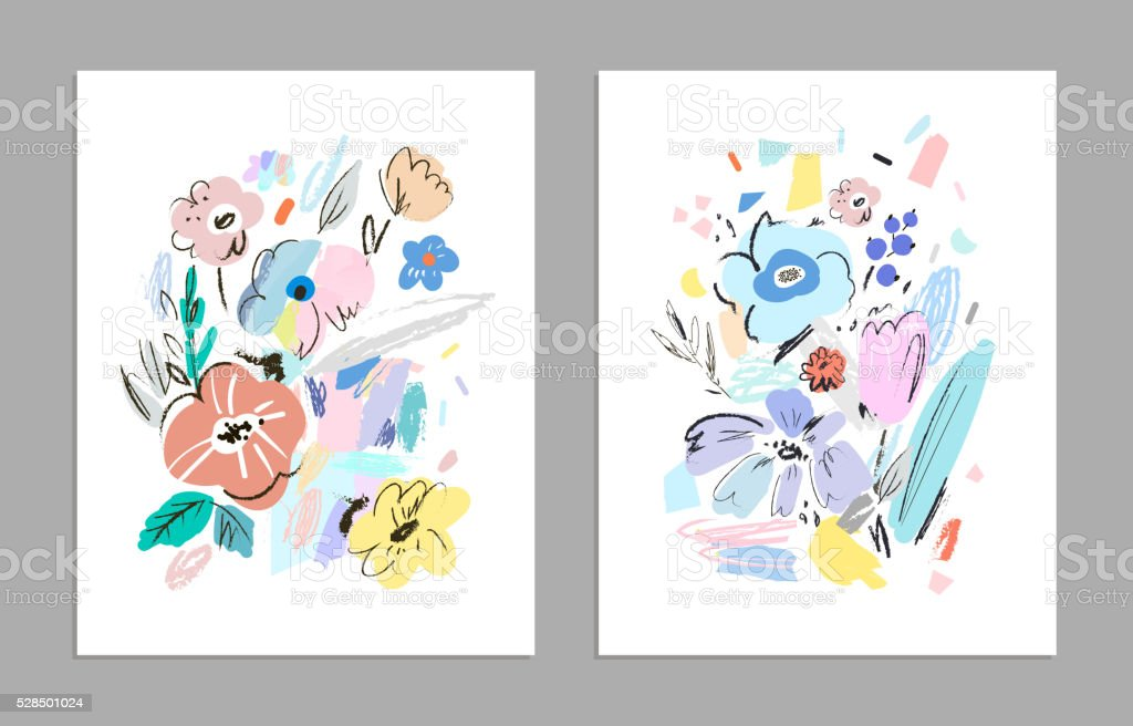 Set of creative universal floral cards. vector art illustration