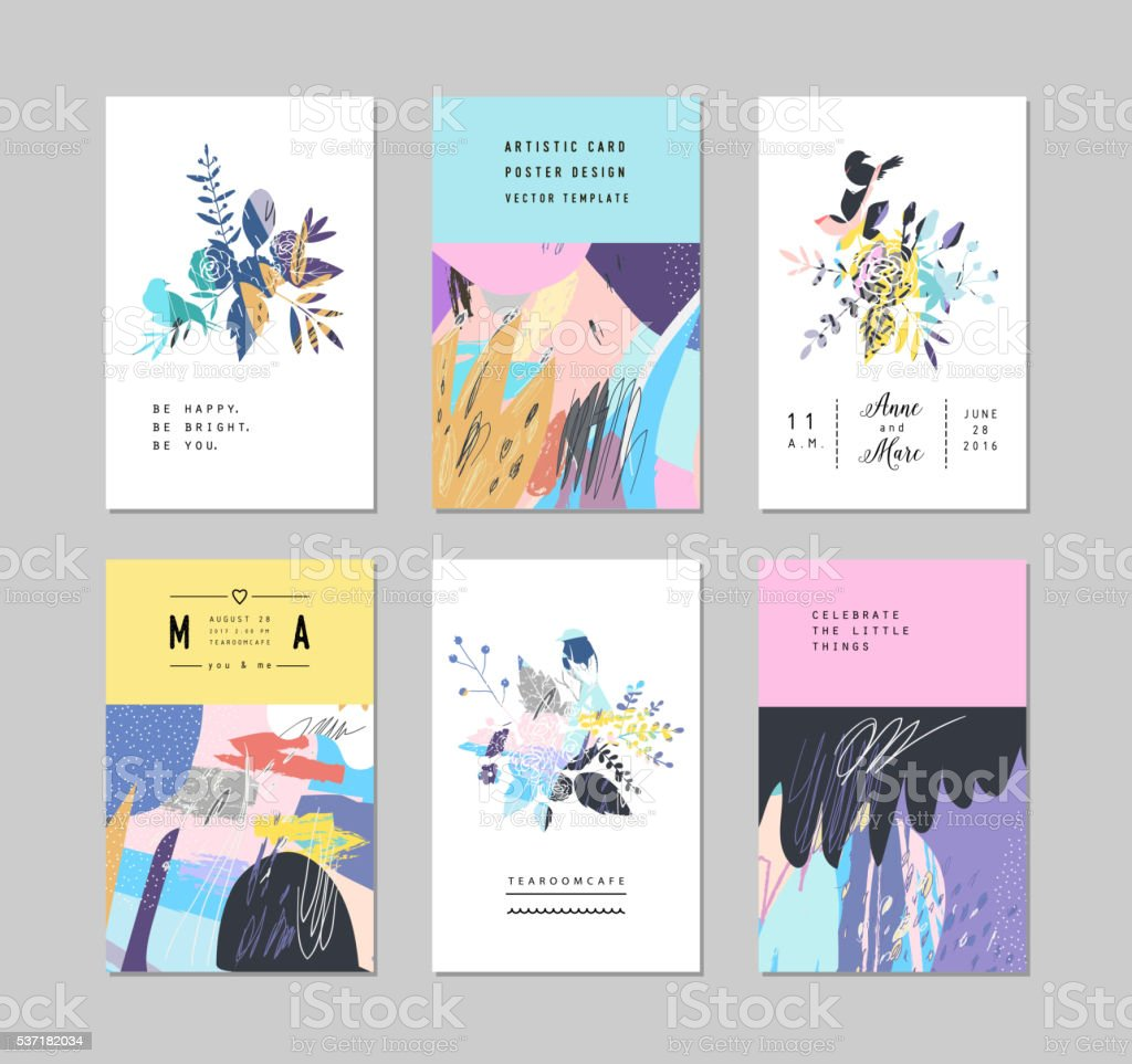 Set of creative universal floral cards vector art illustration