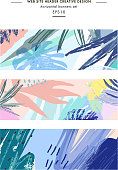 Set of creative universal floral headers in tropical style. Modern graphic design. Hand Drawn textures. Ideal for web, card, poster, cover, invitation, brochure. Vector. Isolated.
