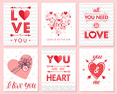 Set of creative Valentines Day cards with hearts,dots,hugs and kissesбgift box and arrows.Romantic illustrations perfect for prints,flyers,posters,save the date,holiday invitations and more.