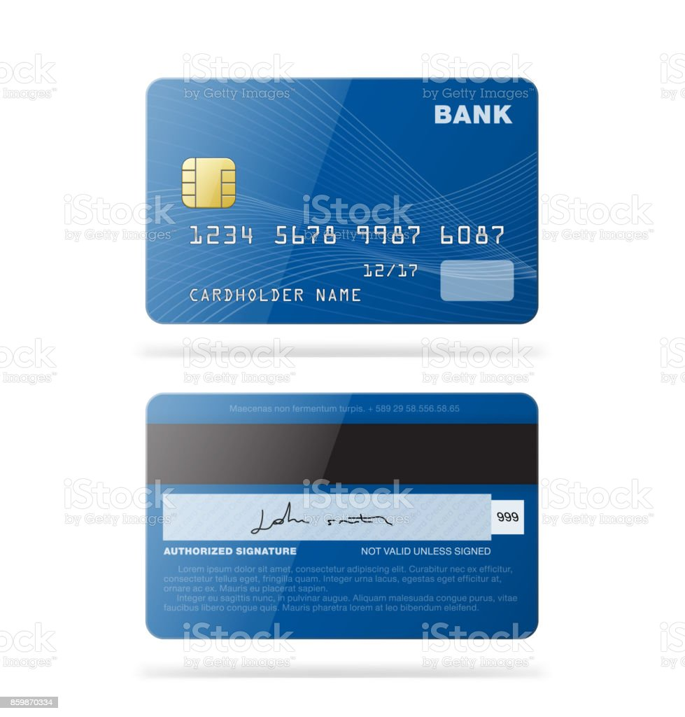 Set of credit cards isolated on white background.