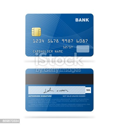 istock Set of credit cards isolated on white background. 859870334