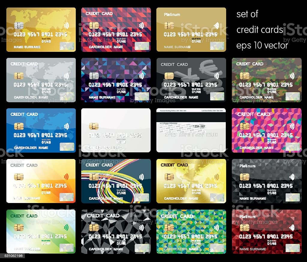 Set of Credit cards vector art illustration