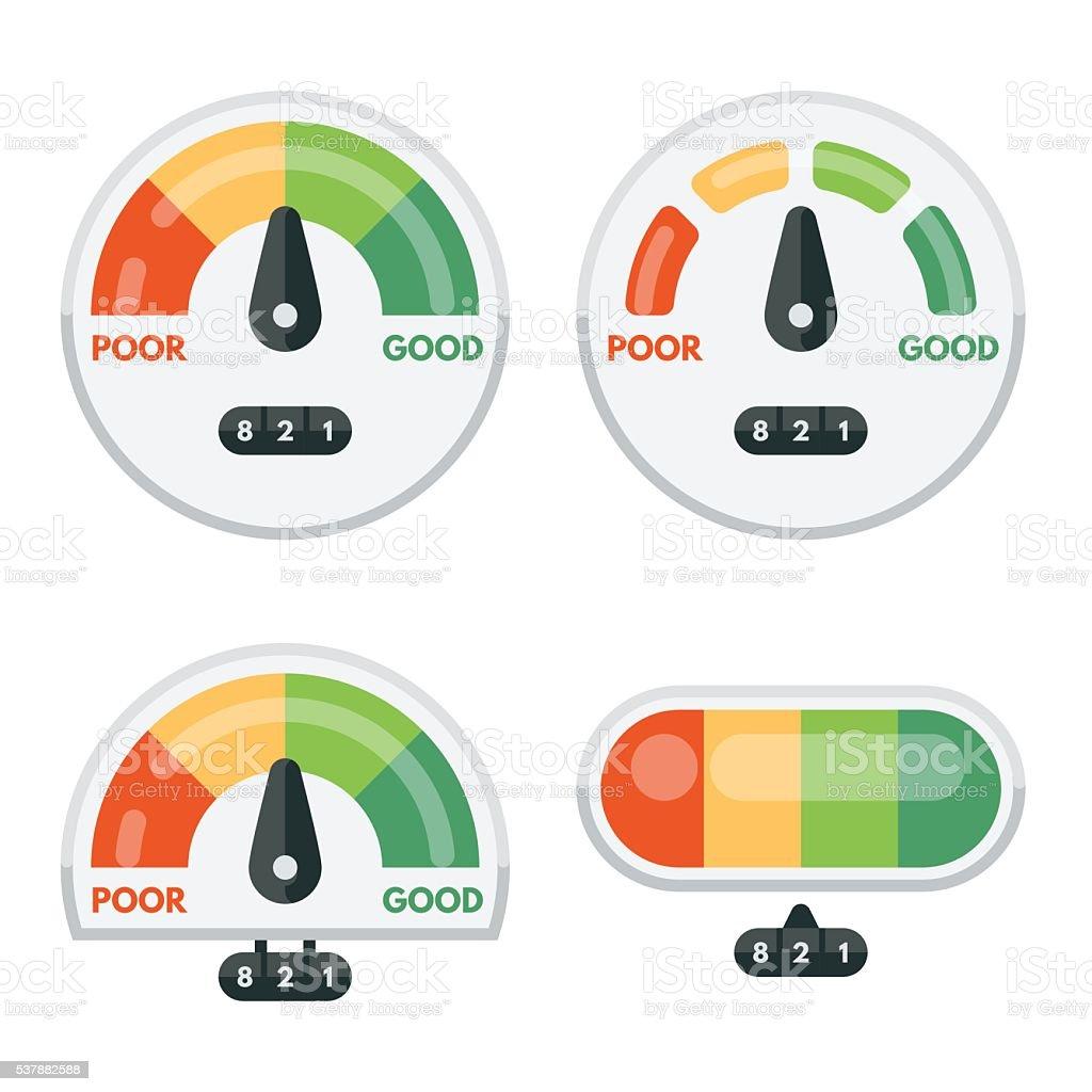 Set of credit score indicators and gauges vector art illustration