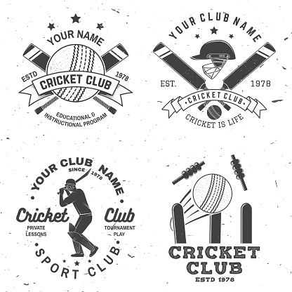 Set of cricket club badges. Vector. Concept for print, stamp or tee. Vintage typography design with cricket batsman, ball, wicket, bail and helmet silhouette. Templates for sports club.
