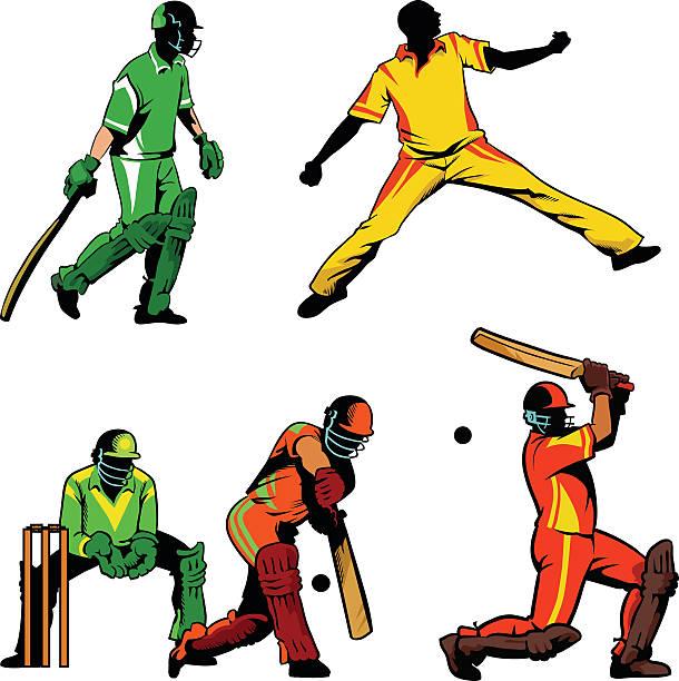ilustraciones, imágenes clip art, dibujos animados e iconos de stock de juego de críquet jugadores en línea y de color - críquet