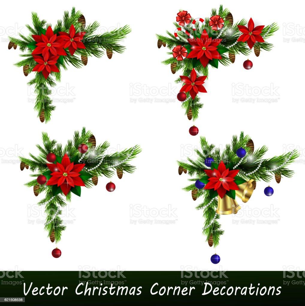 Set of Cristmas corner decorations set of cristmas corner decorations – cliparts vectoriels et plus d'images de arbre libre de droits