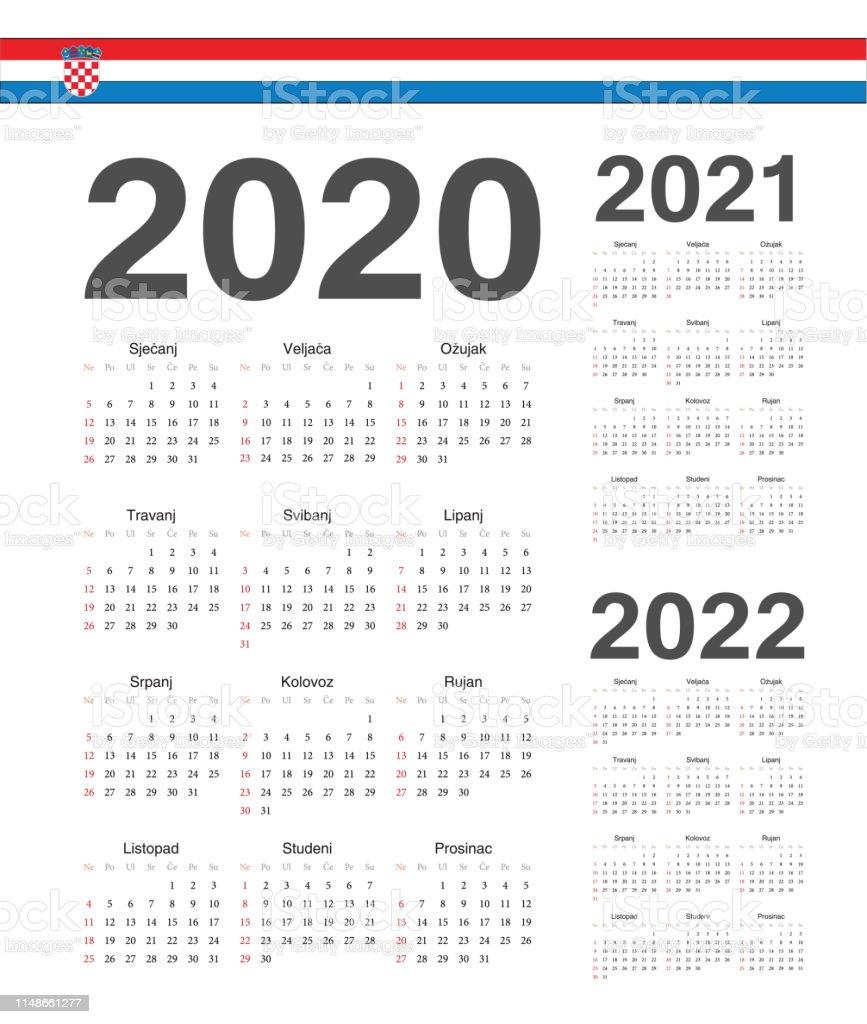 Set Of Croatian 2020 2021 2022 Year Vector Calendars Stock